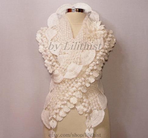 White Bridal Shawl Wrap Crochet Wedding Shrug Bolero Lace Bride Accessory Bridesmaid