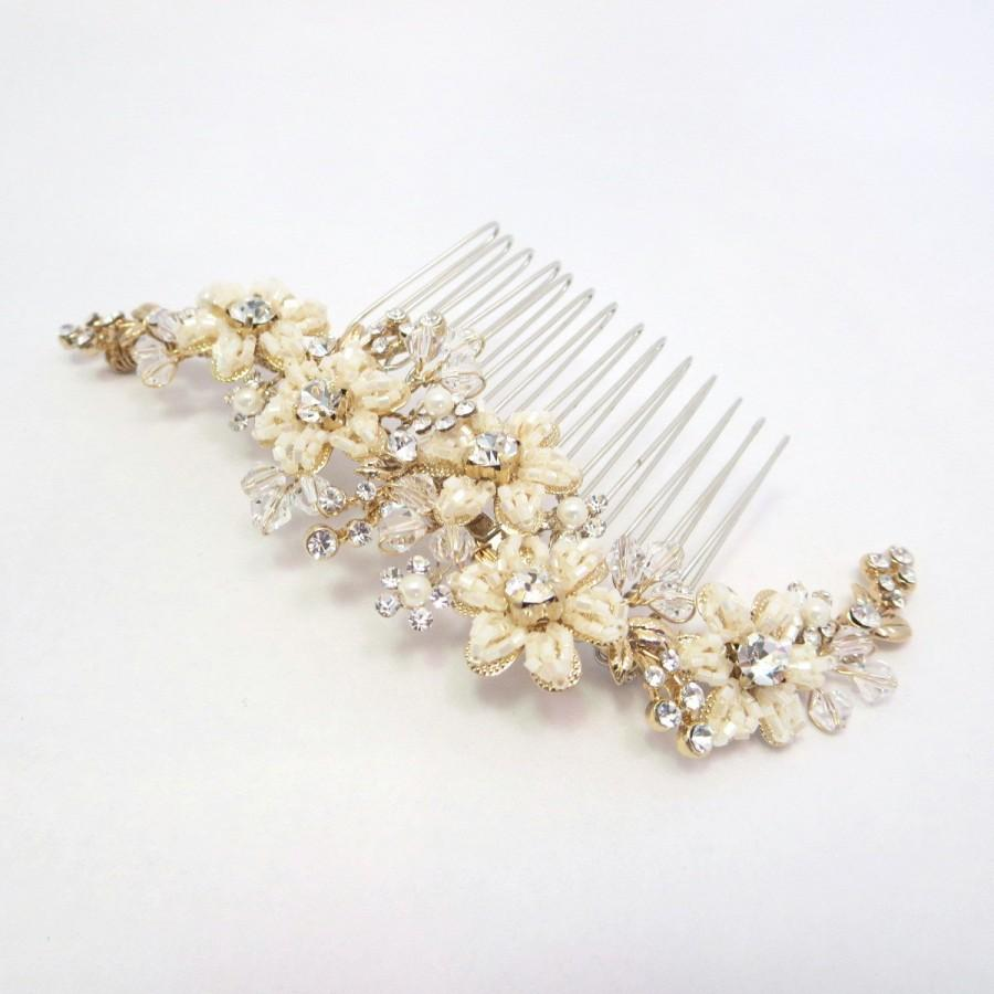 gold bridal headpiece, silver bridal hair comb, wedding hair comb