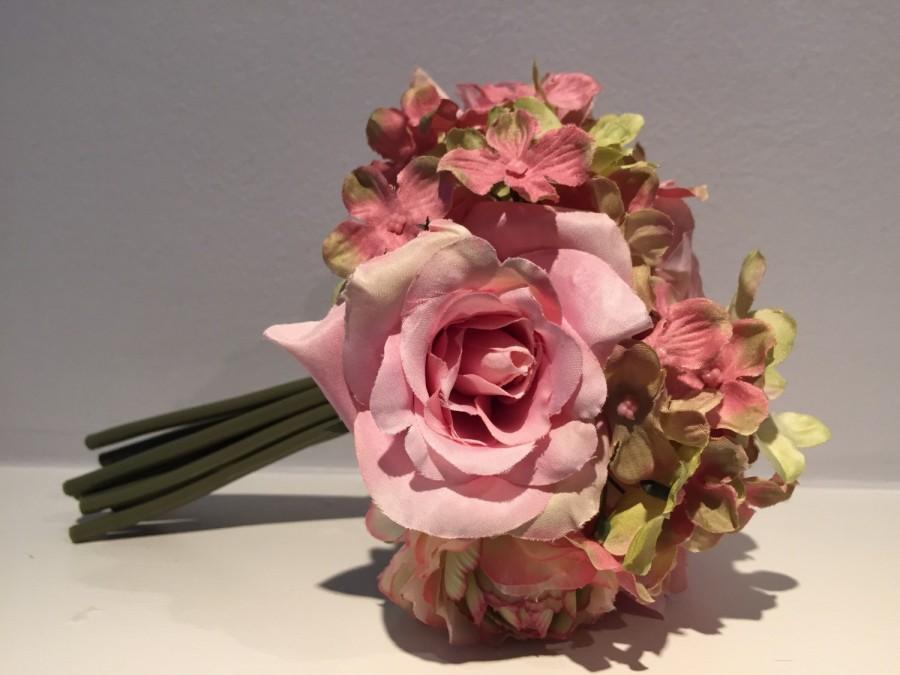 Pink Rose Bouquet Spring Summer Mixed Fl Wedding Centerpiece Green Mauve Flowers