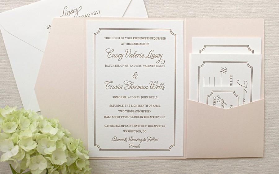 The Audrey Suite Clic Letterpress Wedding Invitation Gold Blush Shimmer Pocket Enclosure Pink Old Hollywood Ticket Movie