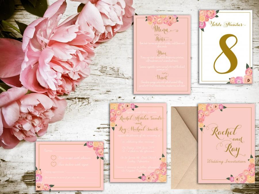Blush And Gold Fl Wedding Invitation Matching Save The Date Rsvp Table Numbers Etc Available