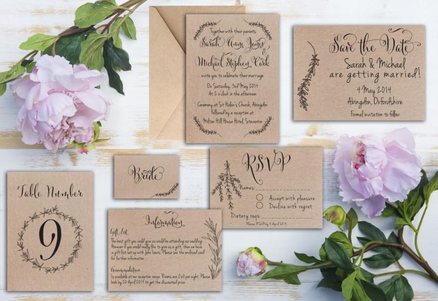 Rustic Rosemary Kraft Wedding Invitation Matching Save The Date Rsvp Table Number Etc Available