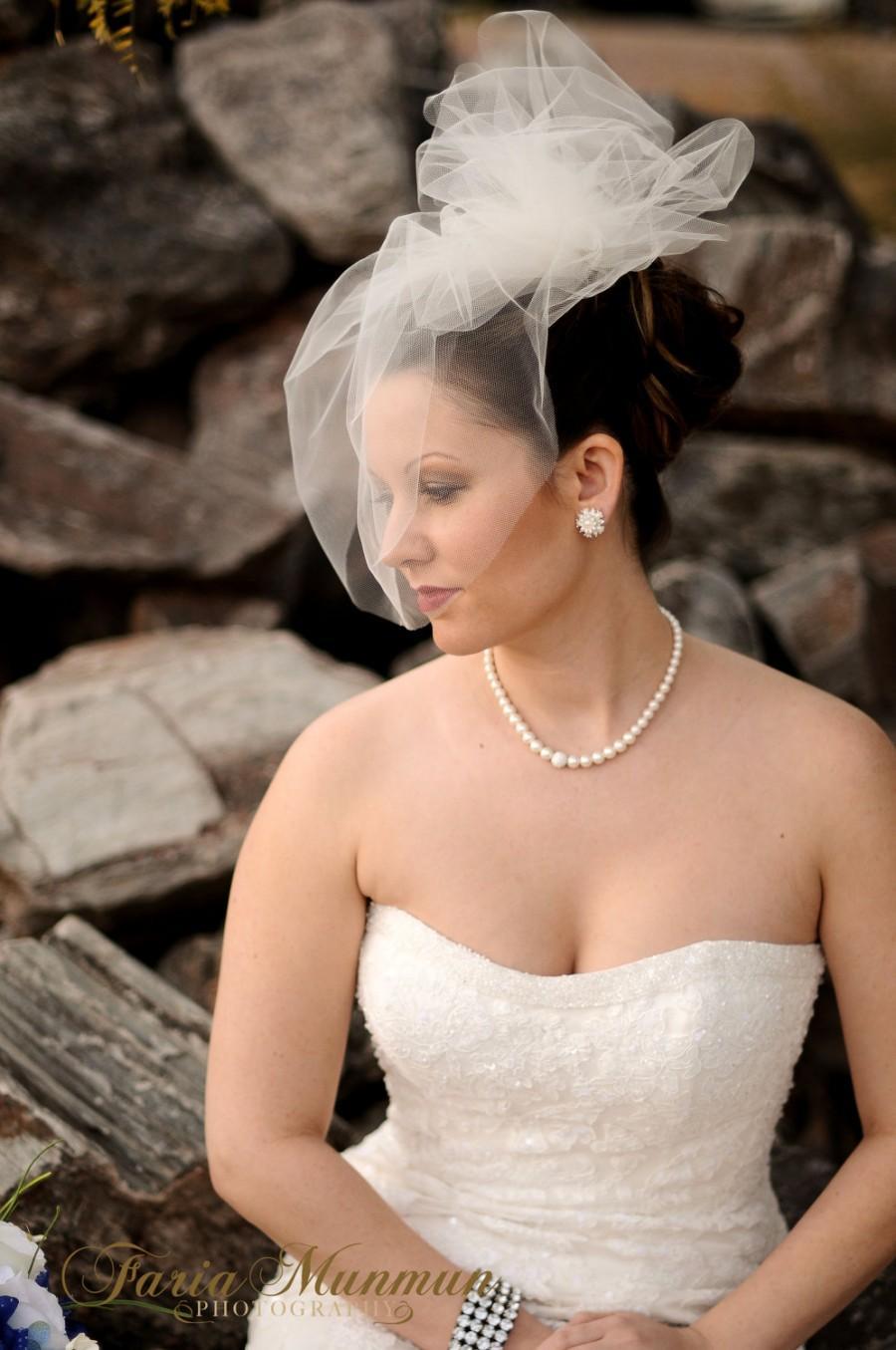 Tulle Birdcage Veil Bridal Blusher With Pouf Short Wedding Caged