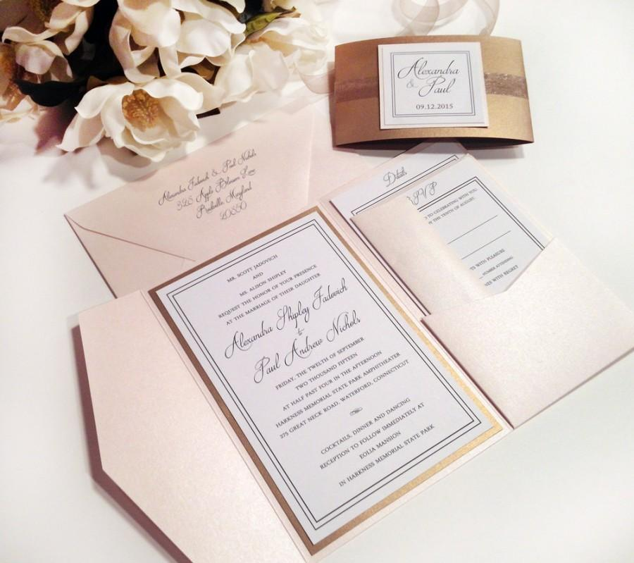 Elegance Blush And Antique Gold Pocket Folder Style Wedding Invitation