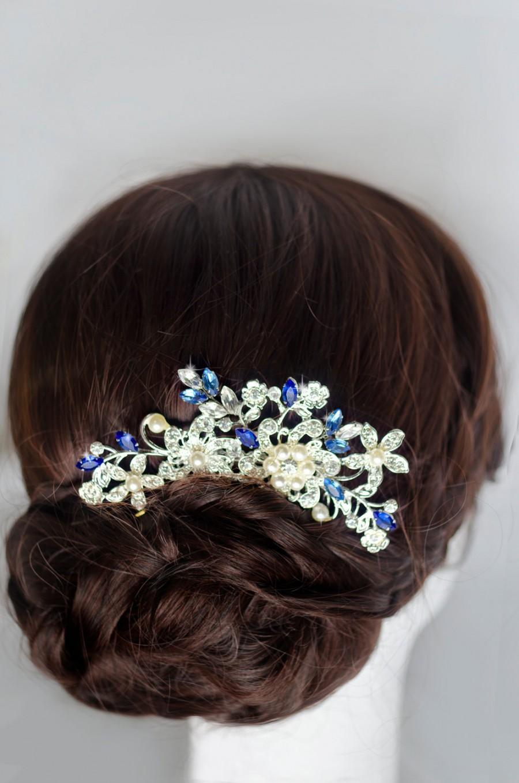 something blue hair comb, sapphire blue swarovski crystal bridal