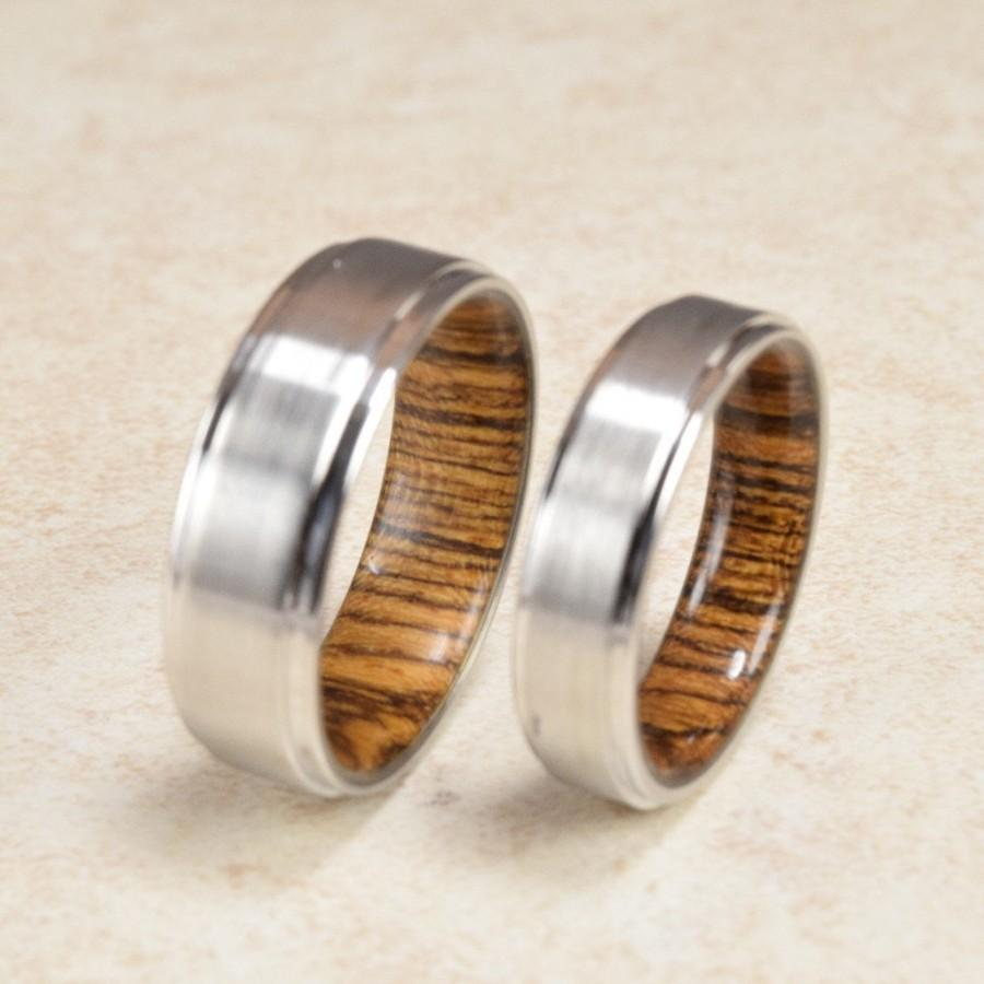 cobalt bocote wood lined ring enement exotic - Cobalt Wedding Rings