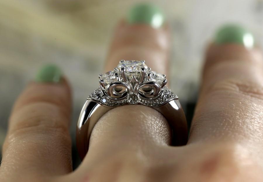 Preferred Three Stone Round Forever Brilliant Moissanite Engagement Ring  CR79