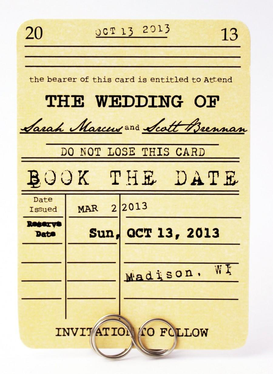 Save The Date Card Book Wedding Themed Vintage