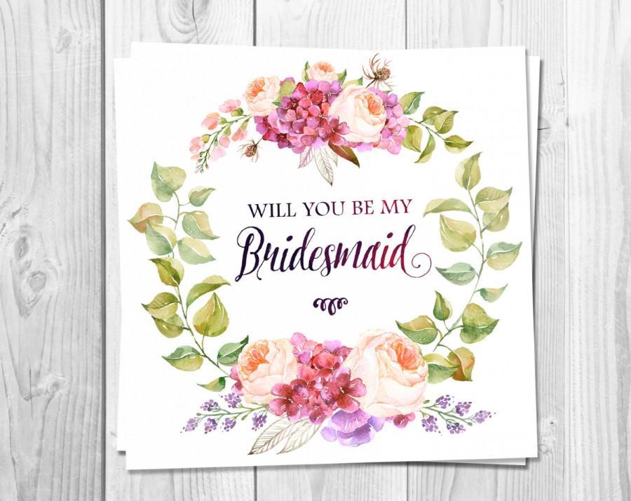 Bridesmaid Card Printable, Will You Be My Bridesmaid ...