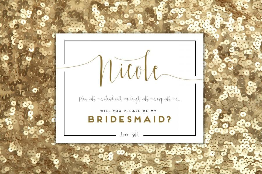 Will You Be My Bridesmaid Card Personalized Matron Of Honor Maid Flower Ask Your