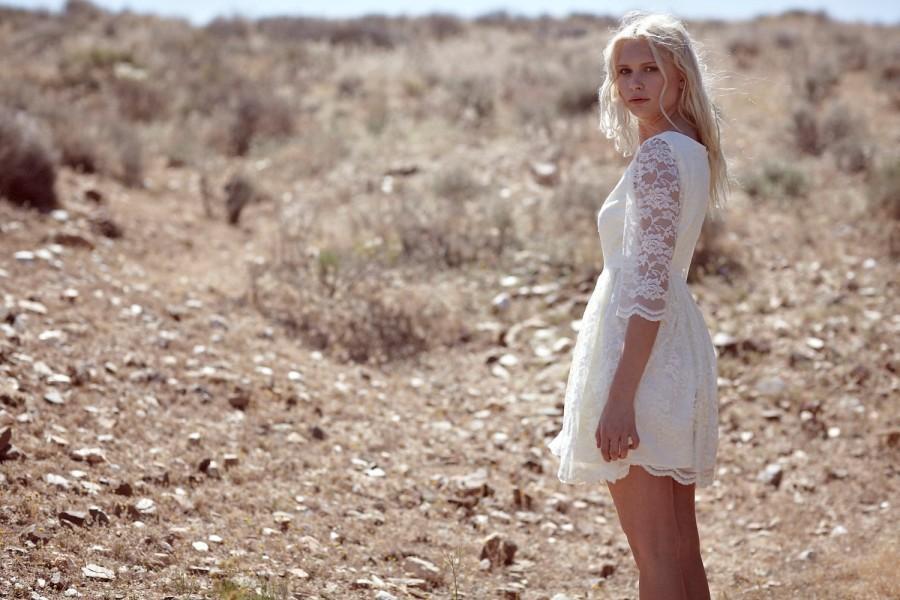 Bohemian Bridal Dress Short Lace Cream Off White Ivory Baby Doll Ada
