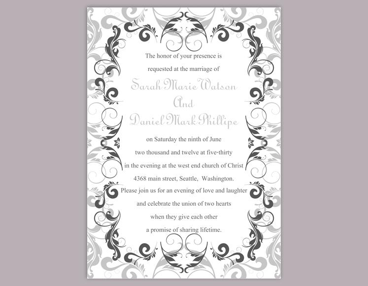Diy Wedding Invitation Template Editable Word File Instant Printable Silver Gray Black Invitations