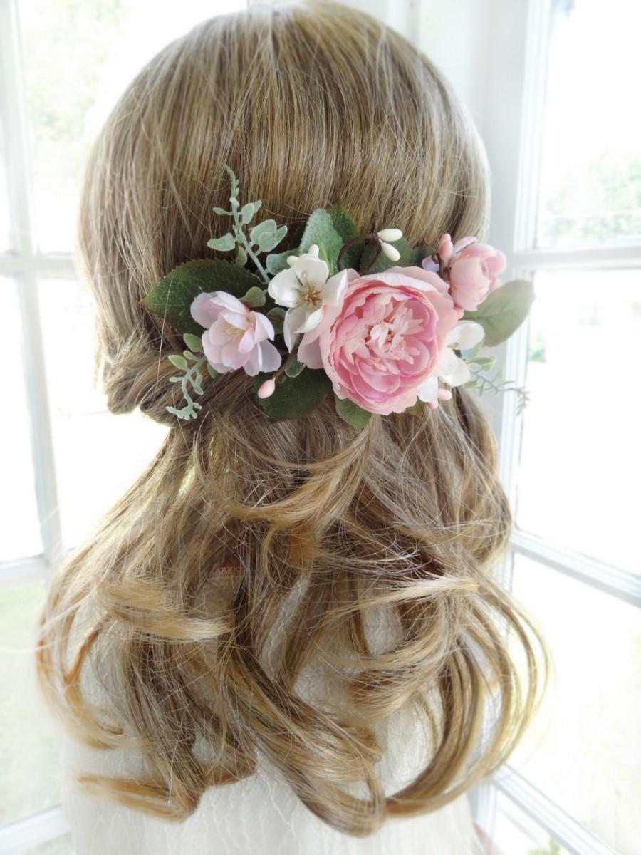 bridal hair comb, pink flower hair clip, wedding headpiece, bridal