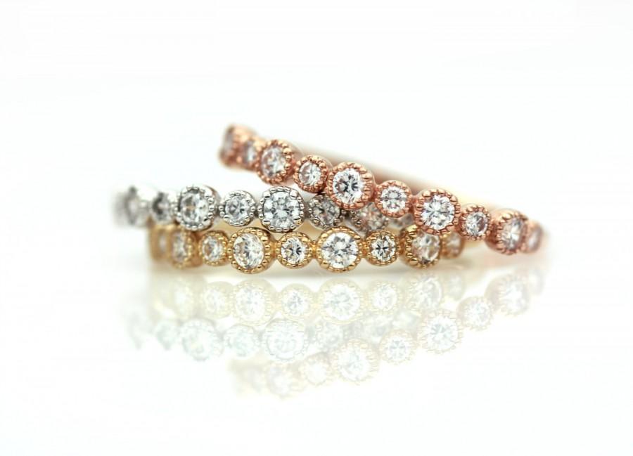 Thin Engagement Ring White Gold Wedding Diamond Band Rose Eternity 14k Solid Genuine Setting