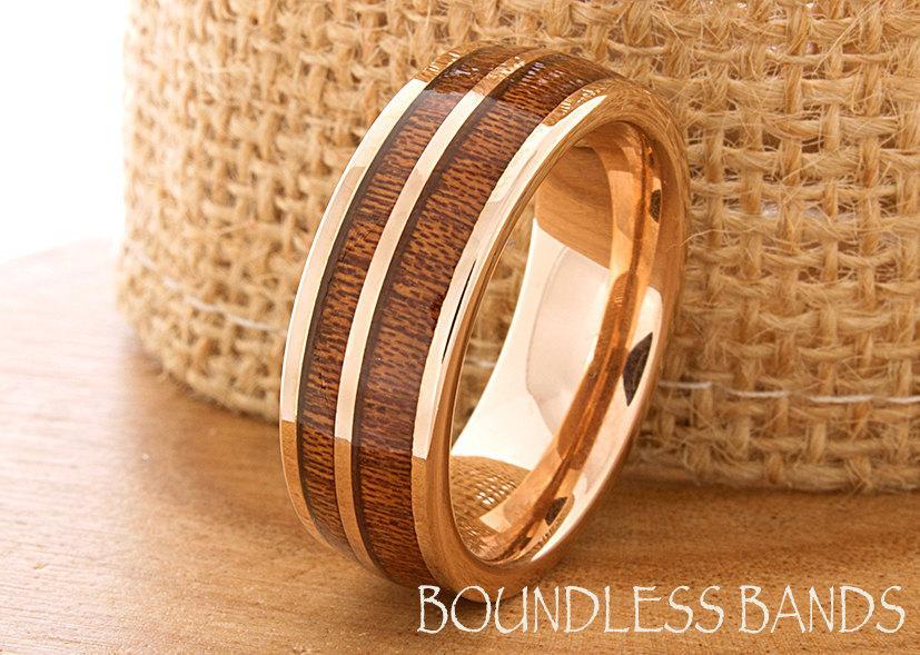 Hawaiian Koa Wood Inlay Ring Rose Gold Tungsten Wedding Band Dome Promise Women Mens