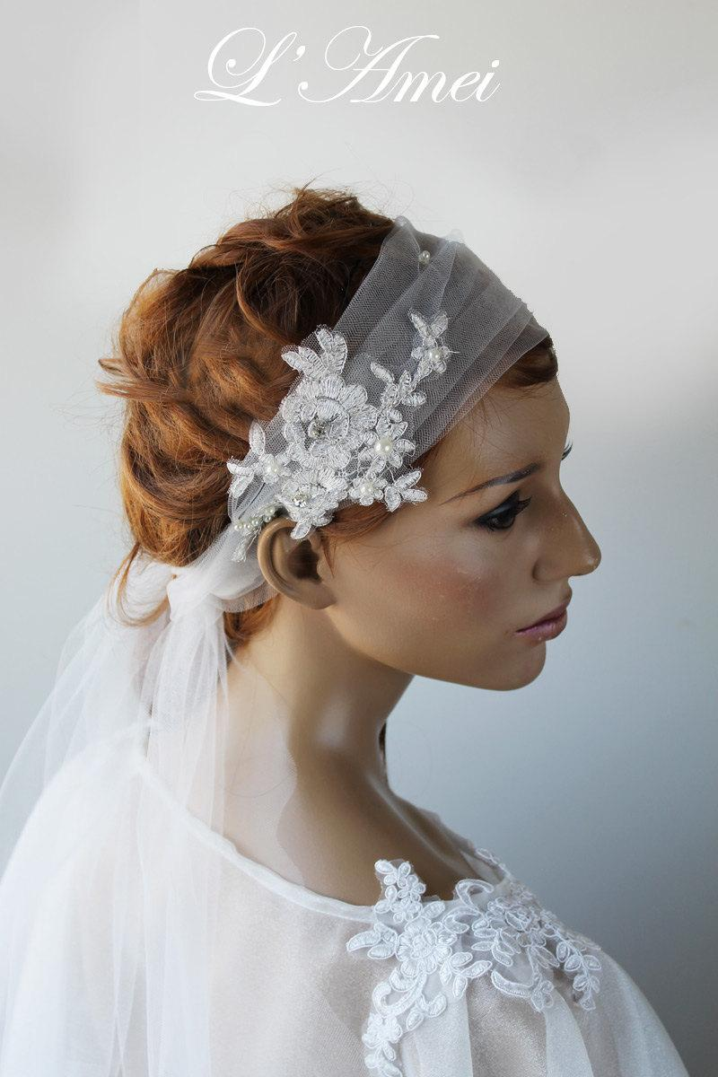wedding hair band with rose embroidered organza tail,white lace