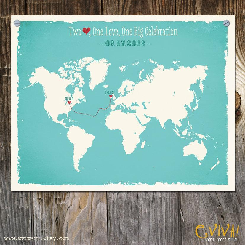 World Map Custom Wedding Print Destination Gift Memento Marriage Signature Guest Books