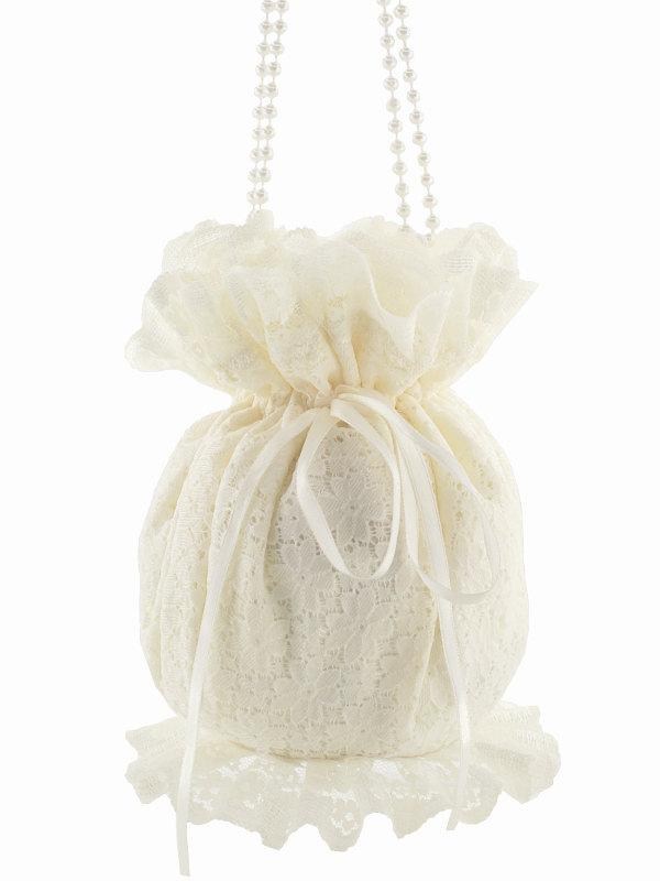 Bride Wristlets Bag Bridal Ivory Lace Clutch Wedding Purse Drawstring Pouch Womens In Pompadour Victorian Style 1460a