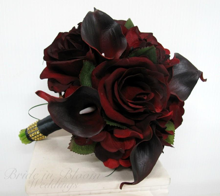 Silk Bride Bouquet Real Touch Majestic Red Calla Lily Black Baccara Rose 8 Inch Wedding