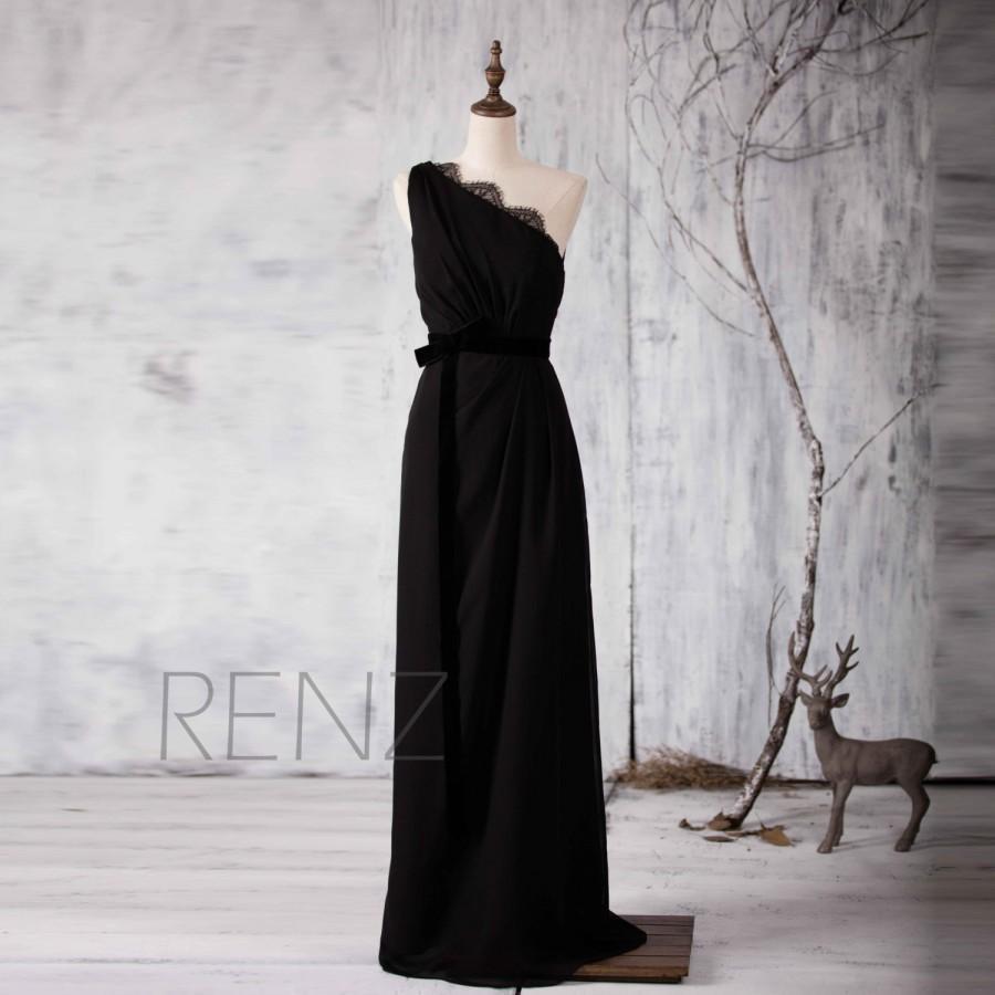 2017 Black Bridesmaid Dress Lace Neck Wedding One Shoulder Prom With Velvet Belt D Back Formal Floor Length H155