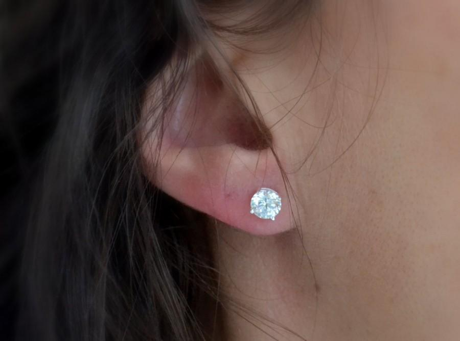 Well-liked High Quaility CZ Studs, Sterling Silver Studs, Diamond Stud, Round  WO52