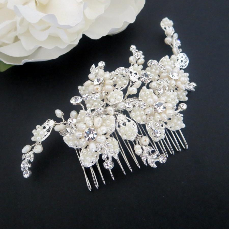 statement bridal hair comb, pearl wedding headpiece, crystal