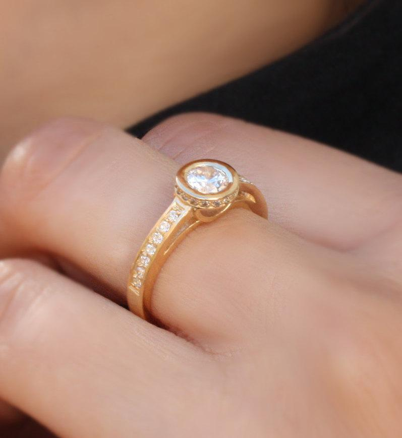 Half Carat Diamond Engagement Ring 14k Gold Art Deco Handmade Accent Bezel
