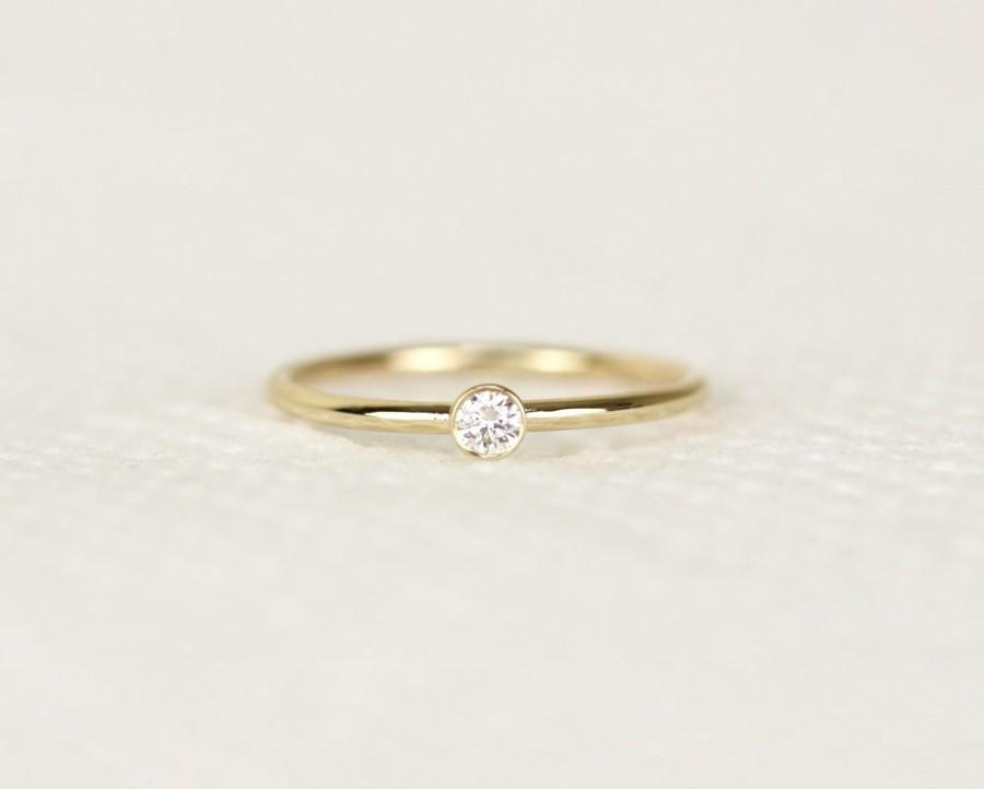 Round Diamond Engagement Ring In 14k Solid Gold Simple Engagement
