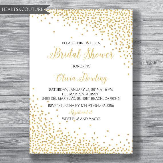 Finest Bridal Shower Invitation, WEDDING SHOWER INVITE, Gold Polka Dot  TV67