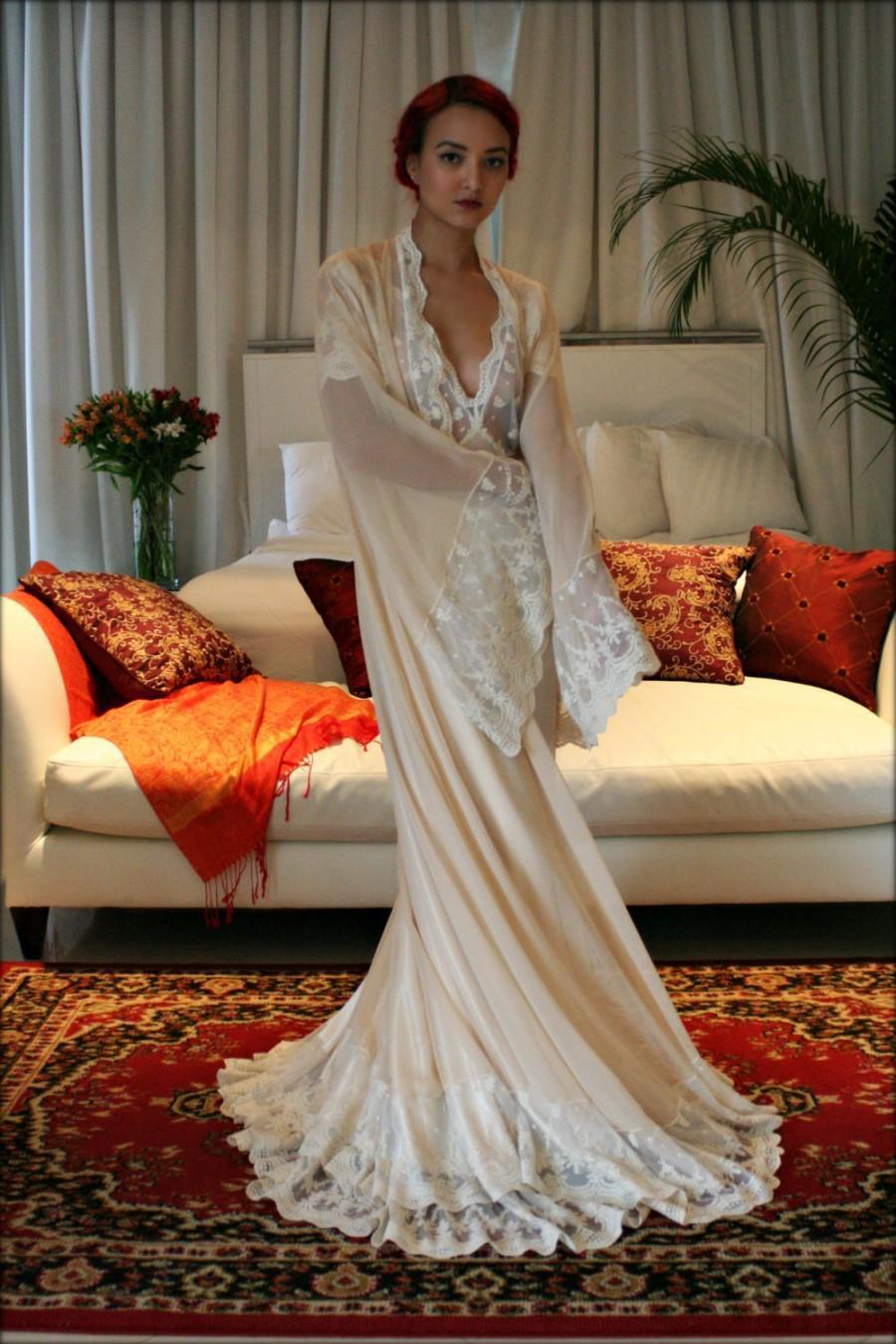 Bridal Silk Robe Champagne Chiffon Wedding French Versailles Lace Sleepwear