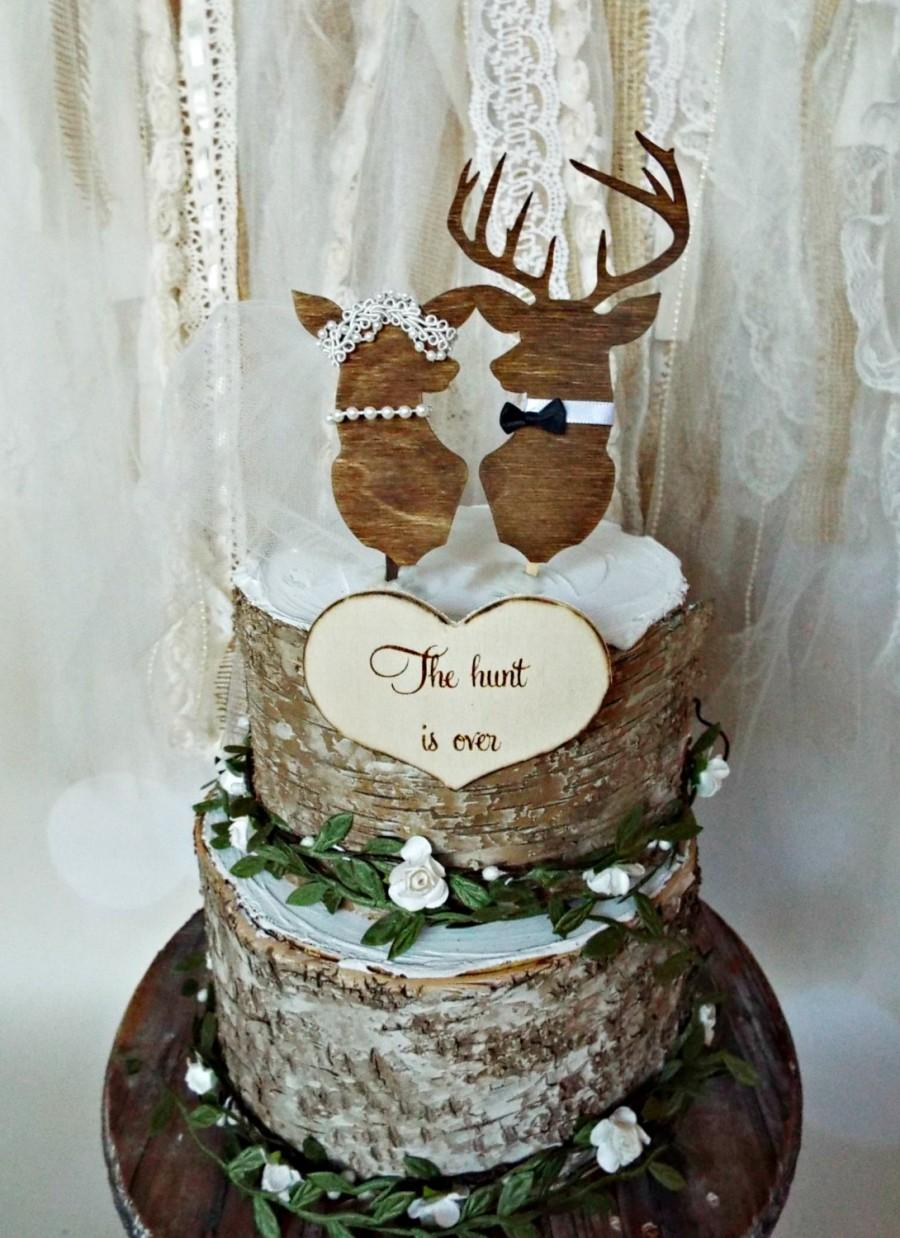 Deer Wedding Buck And Doe Cake Topper Lover Bride Groom Hunting Themed Hunter Camouflage Ivory Wood Silhouettes