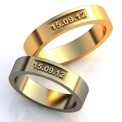 Wedding Date Rings Unique Design Bands Set Anniversary Promise His And Hers