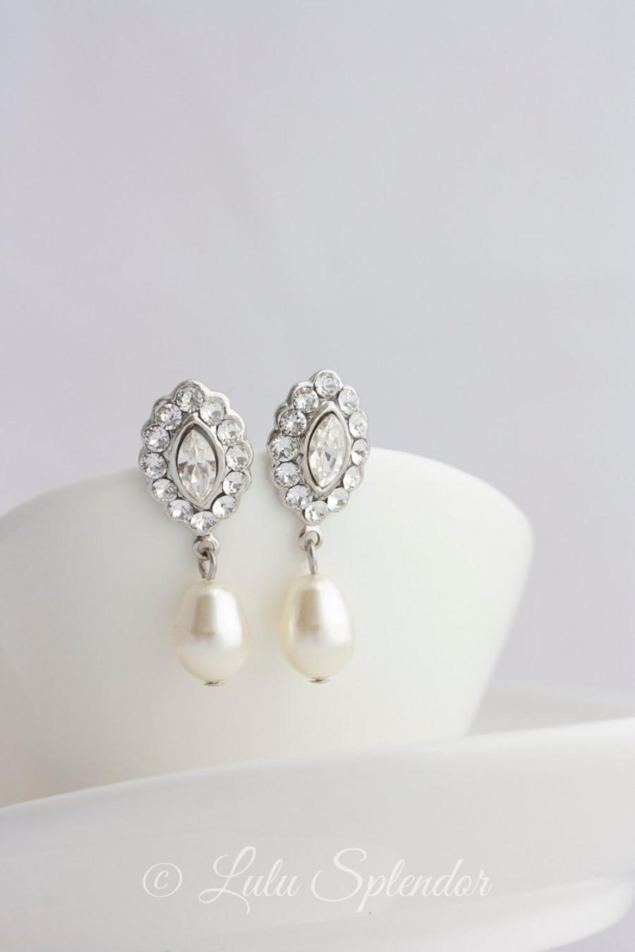 Bridal Earrings Small Wedding Swarovski Crystal Pearl Vintage Style Jewelry Mae Drop