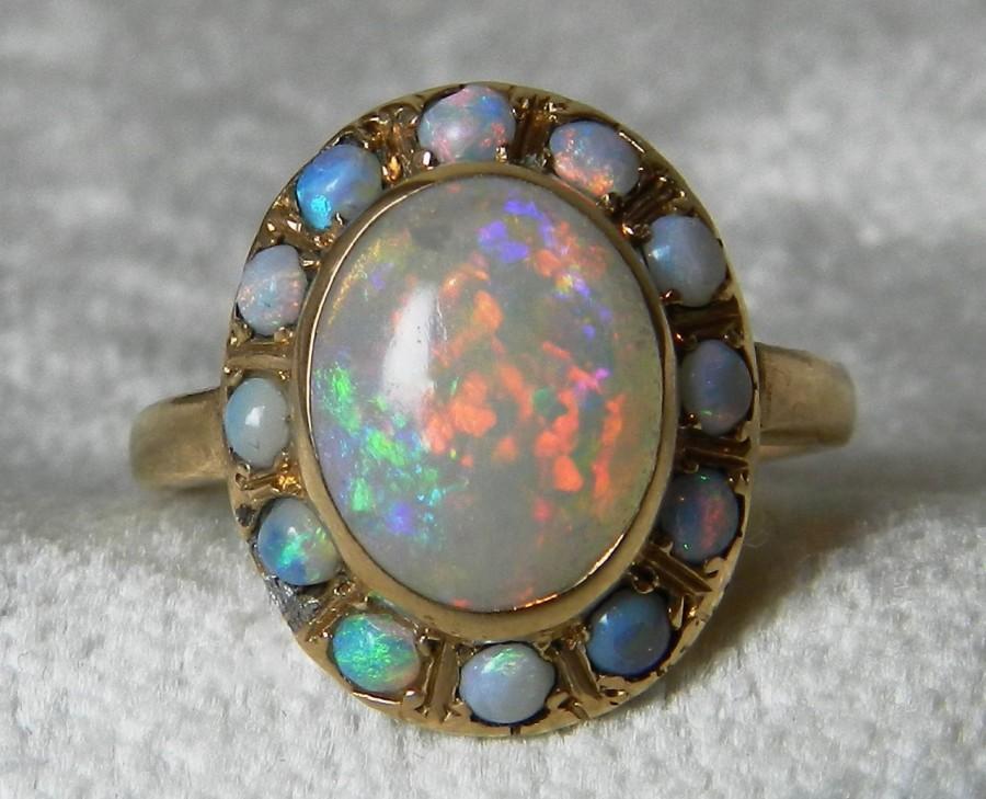 Opal Ring Antique 14k Rose Gold Blue Black Engagement Australian Halo October Birthday