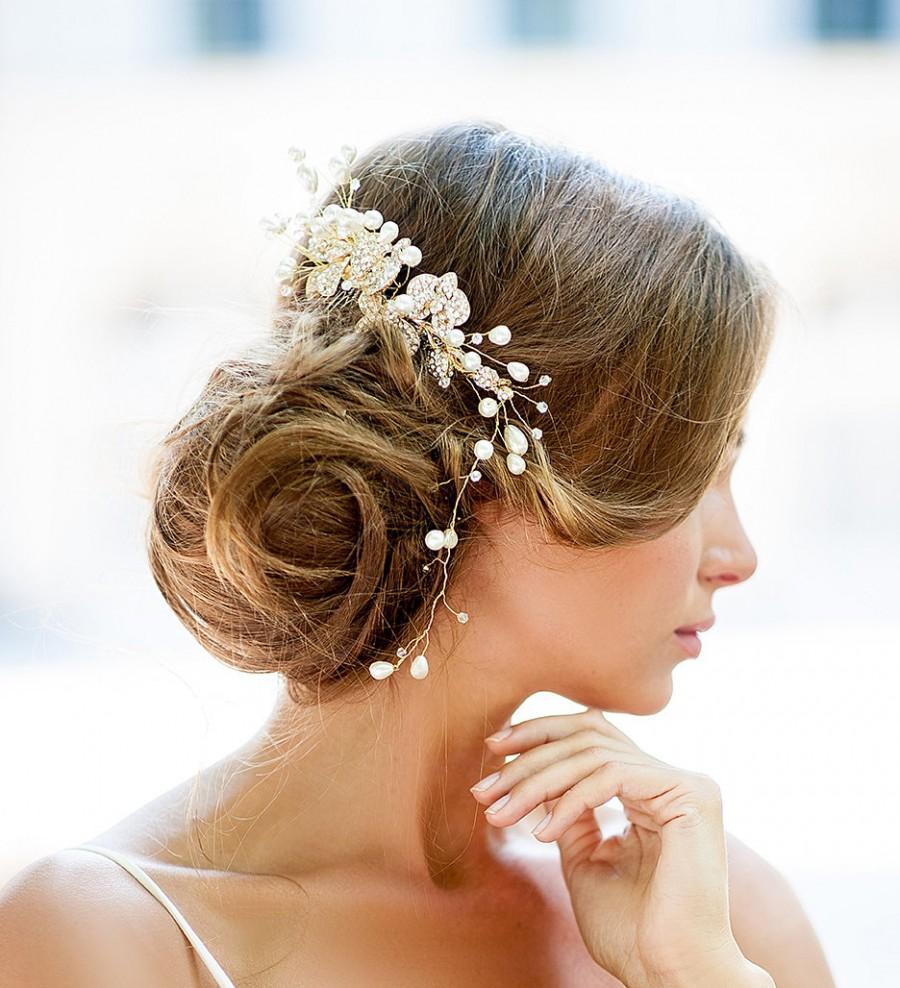 huge dazzling wedding crystal hair piece, gold vine hair piece
