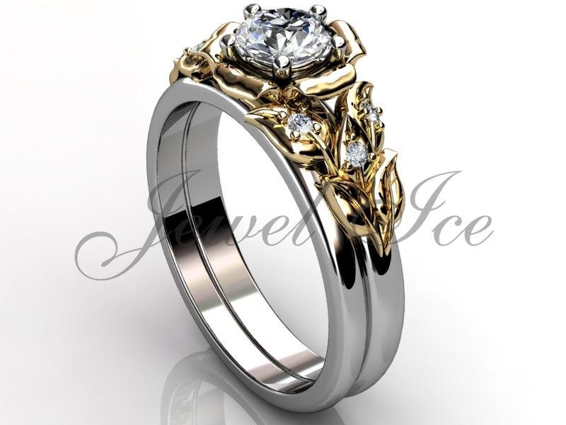 14k Two Tone White And Yellow Gold Diamond Unusual Unique Flower Engagement Ring Wedding Set Er 1066 4
