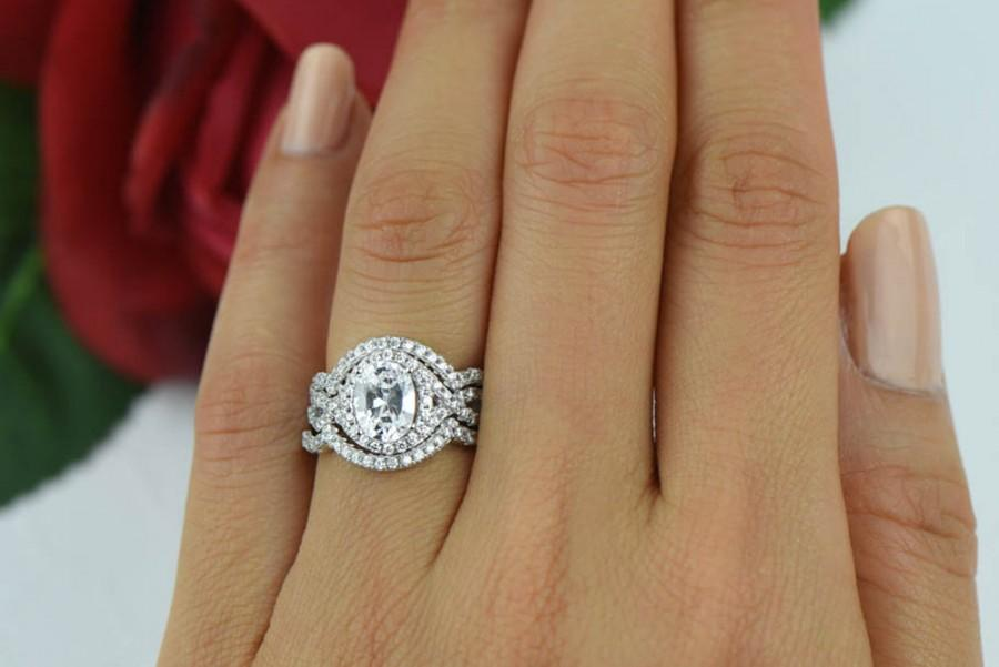 2 Ctw 3 Band Wedding Set Oval Gatsby Style Ring Halo Engagement Man Made Diamond Simulants Swirl Bridal Sterling Silver