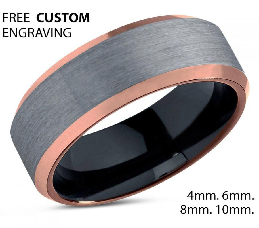 Black Tungsten Ring Rose Gold Wedding Band Carbide 10mm 18k Man Male Women Anniversary Matching