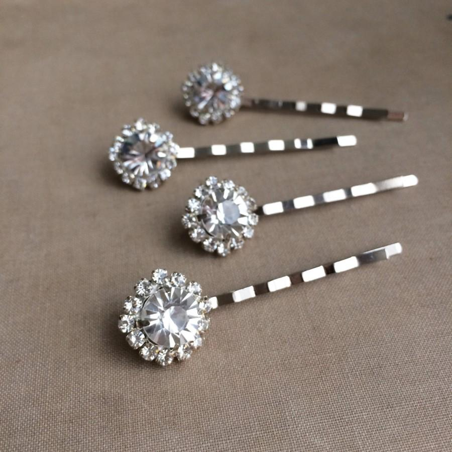 Silver Hairpin Rhinestone Hair Pin 4 Pc Bridal Wedding Accessories Art Deco Clip Hairclip Round