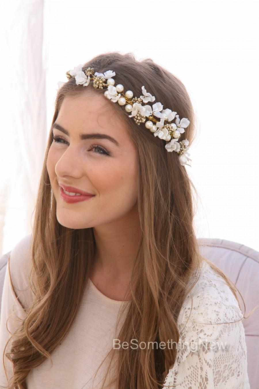 ivory flower crown of delicate flowers and gold accents, boho