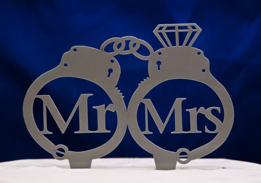 Completely new Handcuffs Wedding Cake Topper - Mr And Mrs Inside Handcuffs With  AW74