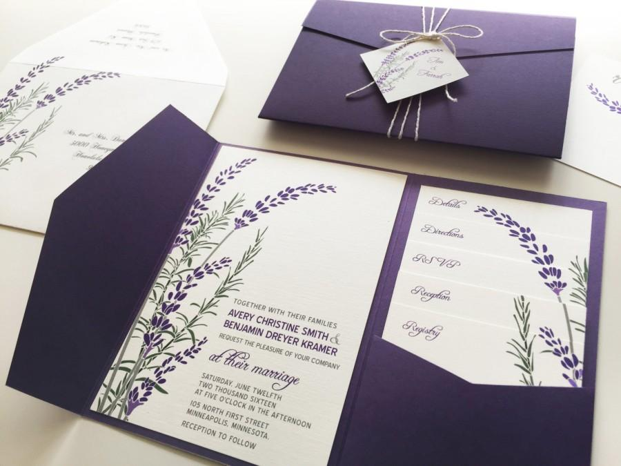 Lavender Wedding Invitation Sample Purple Pocketfold Tags Twine Botanical Fall Bridal Shower Printable