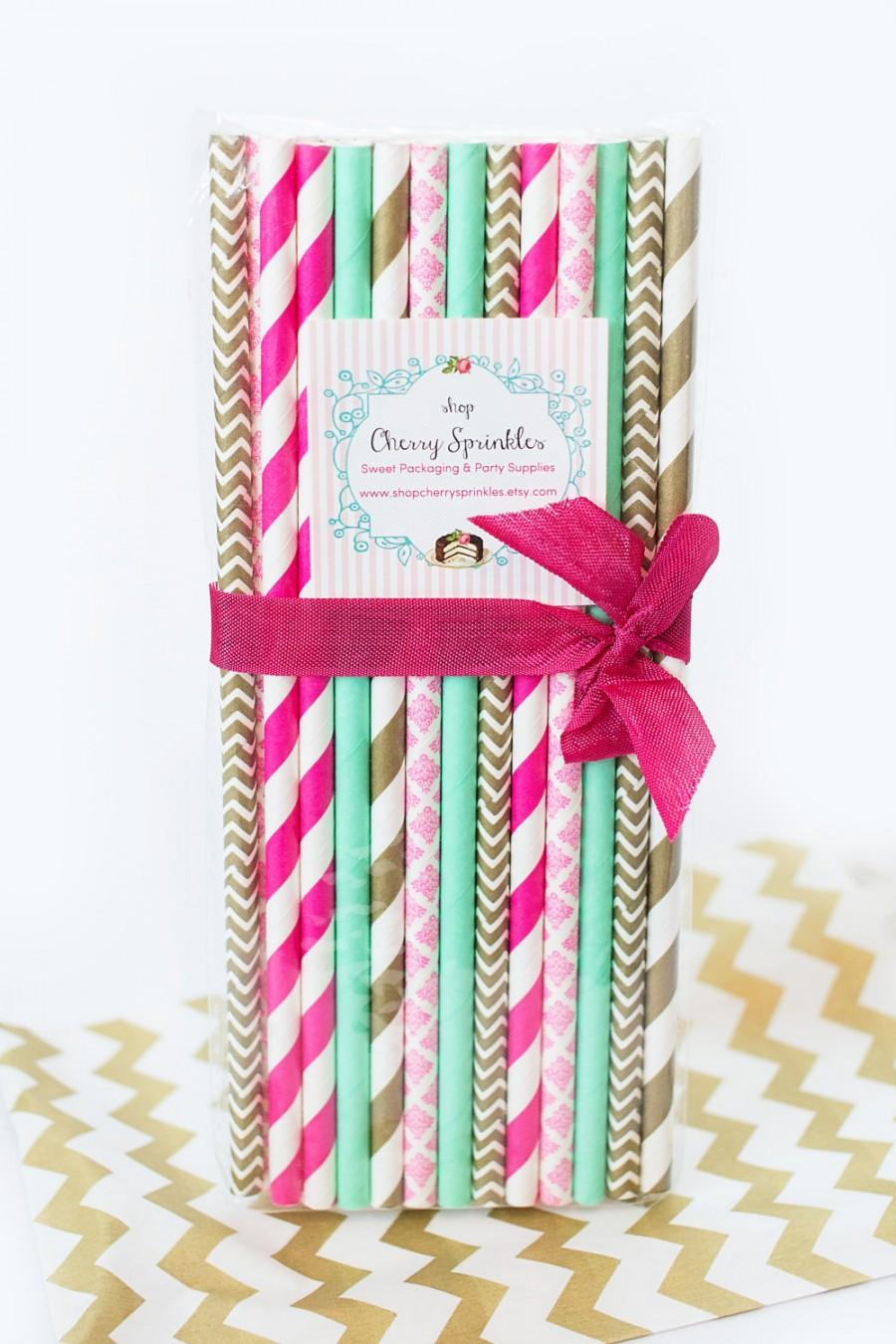 Hot Pink Paper Straws And Mint Gold Wedding Birthday Baby Shower Dark Vintage Inspired