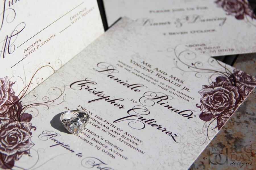 Vintage Rose Wedding Invitations Swirling And Parchment Elegant Garden