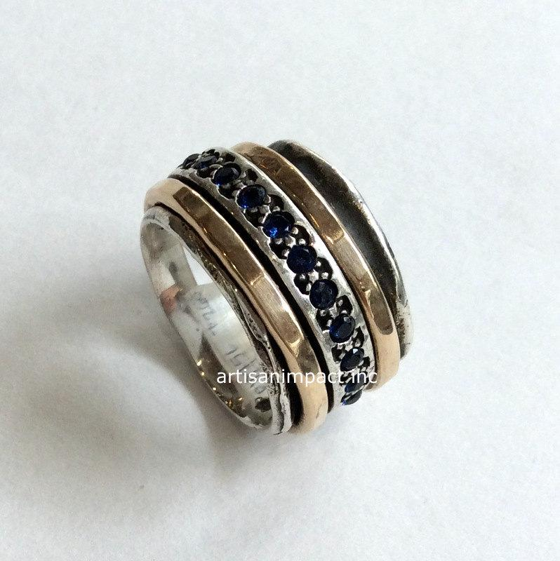 Mothers Ring Gold Silver Band Blue Sapphire Ring Infinity Ring