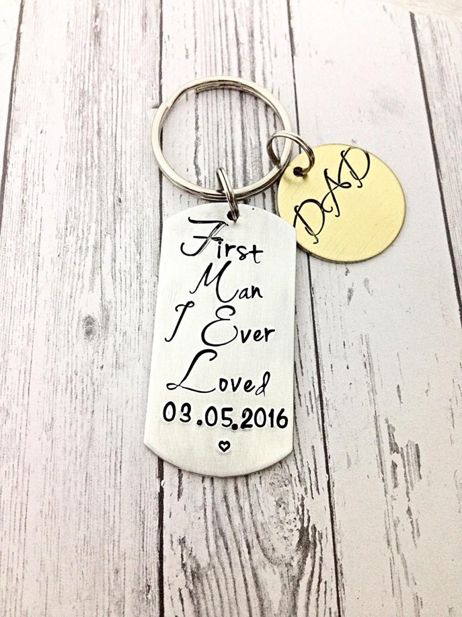 Father Of The Bride Gift Gifts Wedding Day Keychain Hand Stamped Personalized Date