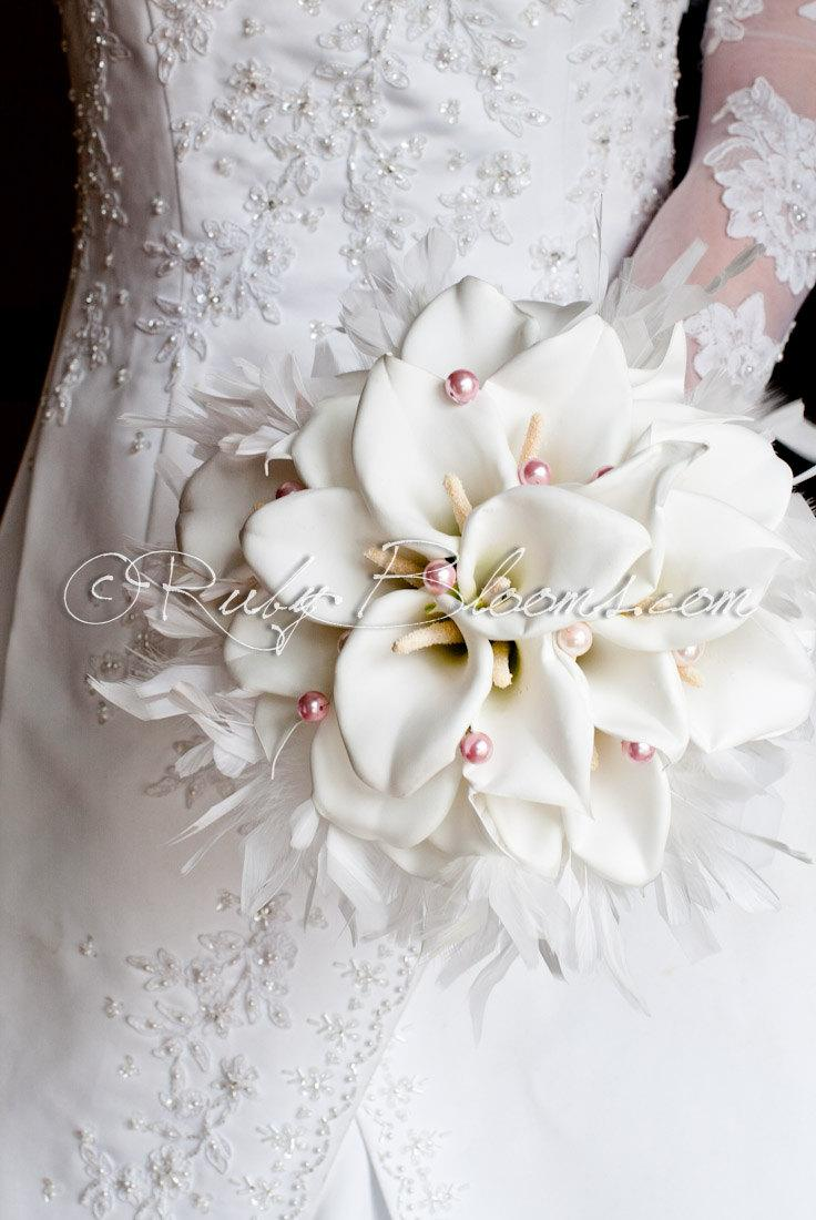 Silk Flowers White Wedding Bouquet Heart Of Angel Fabric Calla Lilies Bridal Brooch Ruby Blooms Weddings