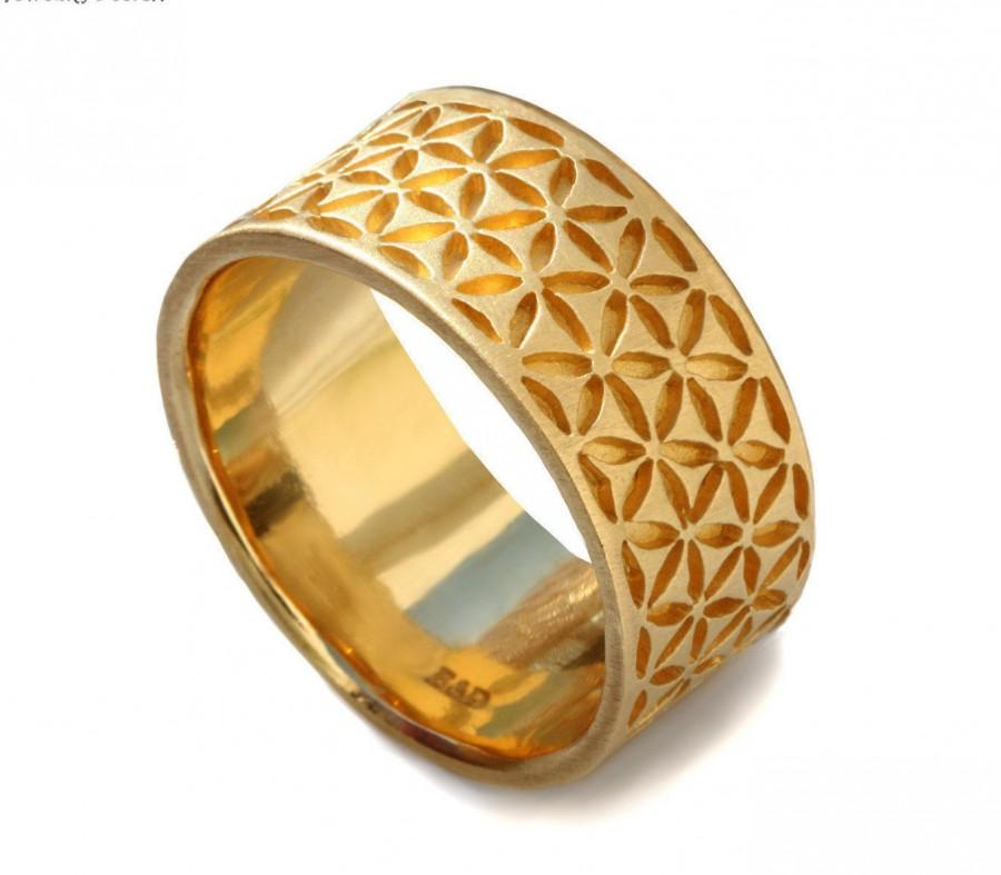 14k Yellow Gold Band Wide Men S Wedding Flower Of Life Fl Motif Patterned Handcrafted Thick