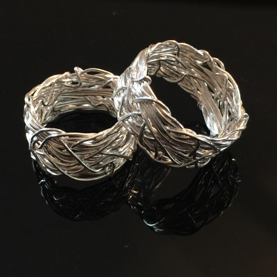 Solid Silver Rings Matching Wedding Band Set Textured Hers And His