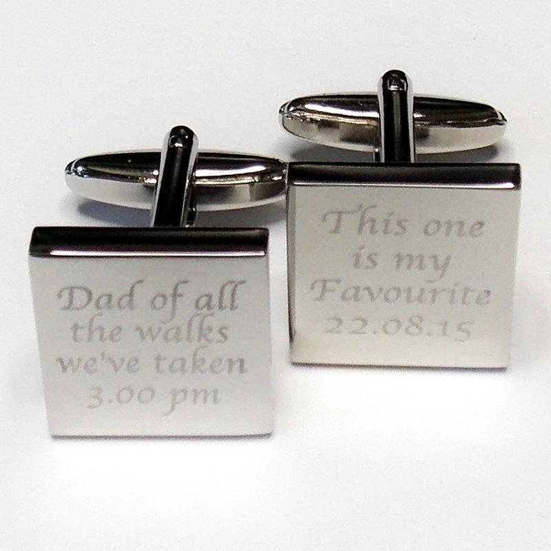 Silver Wedding Cufflink Engraved Square Personalised Date Bride Cufflinks Father Of The Dad All Walks